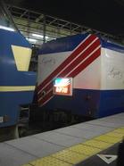"""「あかつき」最後尾に連結された""""レガートシート""""(普通車指定席)車とその次位に連結されていた「EF66-50」。切り離された直後の状態《080310京都駅7番のりばにて撮影》"""