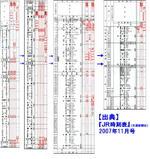 寝台特急「なは」&「あかつき」の列車ダイヤ《『JR時刻表』(交通新聞社)2007年11月号から抜粋》