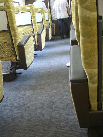 グリーン室の床面。波をイメージした文様の入った寒色系の絨毯が敷き詰められている