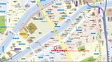 「時刻表検定」大阪会場周辺地図(「マピオン」地図データ使用)。地下鉄四つ橋線肥後橋駅か京阪中之島線中之島駅の何れかからでもほぼ同じ所要時間で徒歩アクセス可能《081118採取》