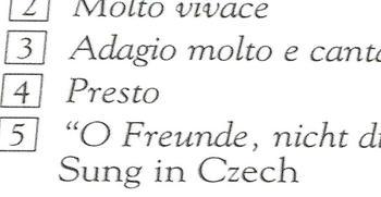 ライナーノーツ表紙裏面の中に見られた「Suung in Czech」の記載。これがチェコ語で歌っていることを示す唯一の文言といえる《090707撮影》