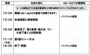 昨年開催の「第九ひろしま2008」(第24回公演)、公演会場1日目スケジュール《リハーサル》