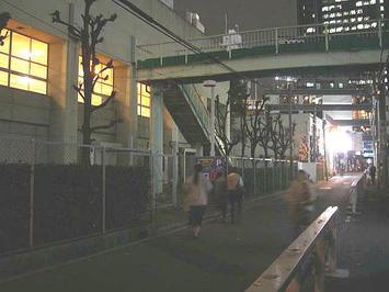 レッスン会場・梅田東学習センター体育館の側面。場内の明かりが煌々と漏れている《091112撮影》