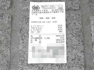 「第27回1万人の第九」昼食用食糧のレシート。東成区役所隣に構えるミニストップ店舗にて調達《091206撮影》