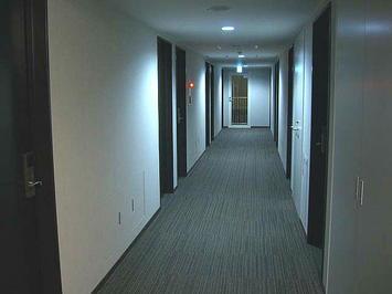 ビジネスホテル「セブンシーズ」3階廊下。白系統と黒系統とのコントラストにほどよく暗めの青白っぽい照明が渋みを演出しているかのようだ《091219撮影》