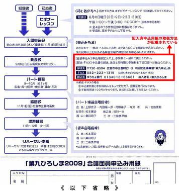 広島県内で配布されている「第九ひろしま」通常合唱団員募集チラシ。赤枠で囲んだ部分に記入済申込用紙の取扱方に関する記載が見える《チラシは昨年(2009年)開催分のものです》
