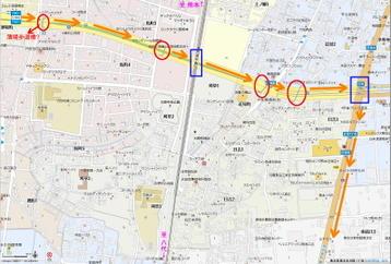 "N700系""青磁""仕様車両JR九州保有分(8000番台)の陸送ルート途上に見える、熊本県道51号線上の薄場町付近から近見交差点に至る区間に控える歩道橋の数々《地図サイト『Mapion(マピオン)』使用》"