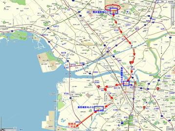 """今回落成・陸送されたN700系""""さくら""""車両(JR西日本保有分)が辿った、製造元・日本車輌豊川工場から船積み地点・豊橋港(三河港)に至るまでの陸送ルート《陸送ルートについては推測により記載しているため実際のルートと異なっている可能性があります;『MapFan』地図を使用》"""