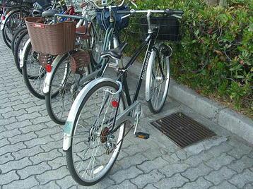 大阪城ホール・北玄関に通ずる階段の左横スペースに停めた、自宅から走らせてきた我が自転車《101204撮影》
