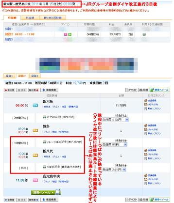 某乗換案内検索サイトに於いて表示された、「3月15日」に於ける「新大阪→鹿児島中央」片道旅程パターン。当該日付に於いて廃止されているはずの「リレーつばめ」が挟まっているのが見える