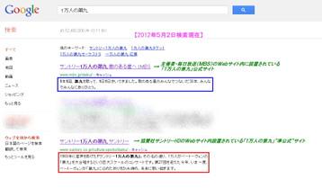 「Google」による「1万人の第九」検索結果の1ページ目より抜粋《2012年5月2日検索実行》