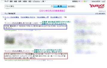 「Yahoo!」による「1万人の第九」検索結果の1ページ目より抜粋《2012年5月2日検索実行》